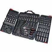 "210-PC 1/4"", 3/8"" & 1/2"" Drive S.A.E./Metric Socket & Wrench Sets"