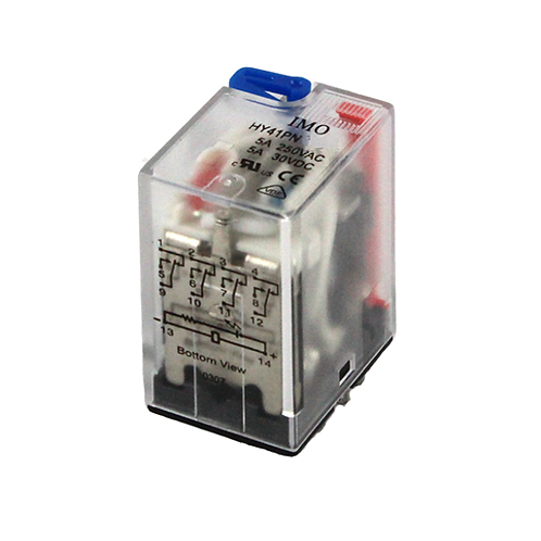 IMO Relay 4PCO, 5A, 24VDC, up to 1.1W Plug-in,LED&