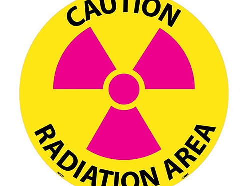 "Walk on Floor Signs: Caution Radiation Area  17"" x 17"""