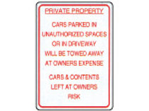 Private Property No Parking Relfective Signs