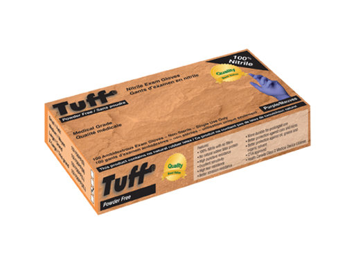 TUFF PURPLE 3MIL DISPOSABLE NITRILE GLOVES, MED GRADE Sold by the case