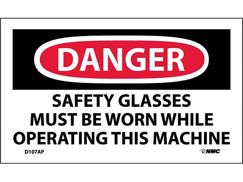 Danger Safety Glasses Must Be Worn Labels