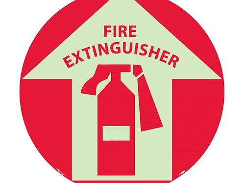 "Walk on Floor Signs:  Fire Extinguisher  17"" x 17"" Glow"