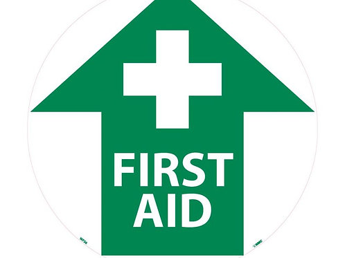 """Walk on Floor Signs: First Aid  17"""" x 17"""""""