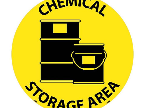 "Walk on Floor Signs: Chemical Storage Area  17"" x 17"""