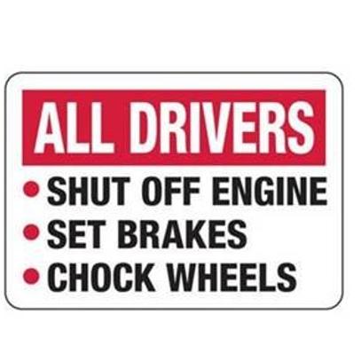 "All Drivers Sign:  Shut off Engine  12"" x 18"" Aluminum"