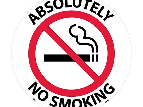 """Walk on Floor Signs:  Absolutely No Smoking 17"""" x 17"""""""
