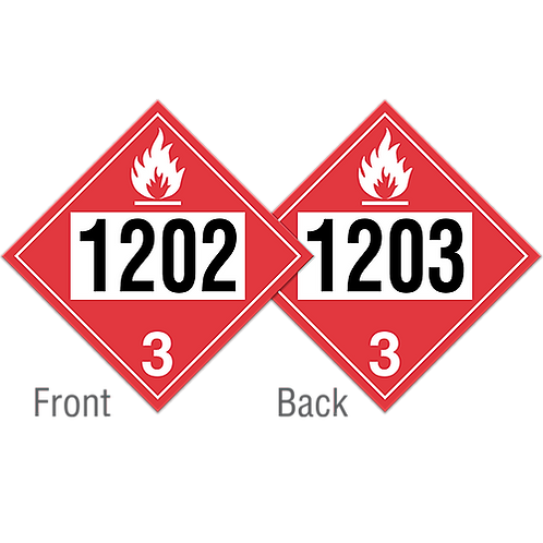 1202 - 1203 Pre-Numbered Placards Rigid Plastic | Wholesale Safety Labels