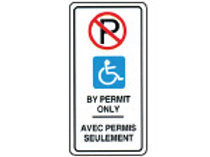 "Bilingual Handicap By Permit Sign:  Reflective Aluminum - 12"" x 24"""