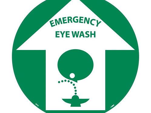 """Walk on Floor Signs:  Emergency Eye Wash 17"""" x 17"""""""