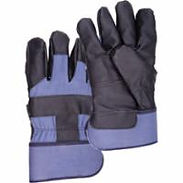 Grain Cowhide Furniture Leather Cotton Fleece-Lined Gloves