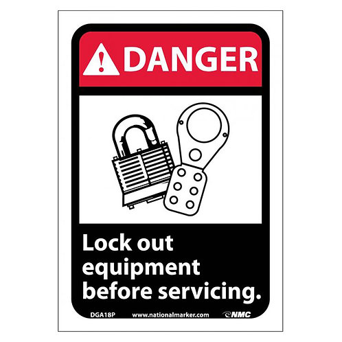 Graphic Lockout Signs:  Lockout Equipment Before Servicing