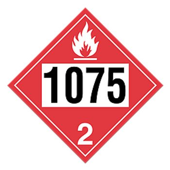 Liquefied Petroleum Gases 1075 Pre-Numbered Placards   Wholesale Safety Labels
