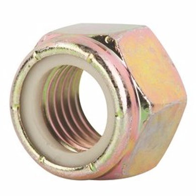 "1/4""-20 Grade 8 Yellow Zinc Finish NE Steel Nylon Insert Lock Nut 100/Box"