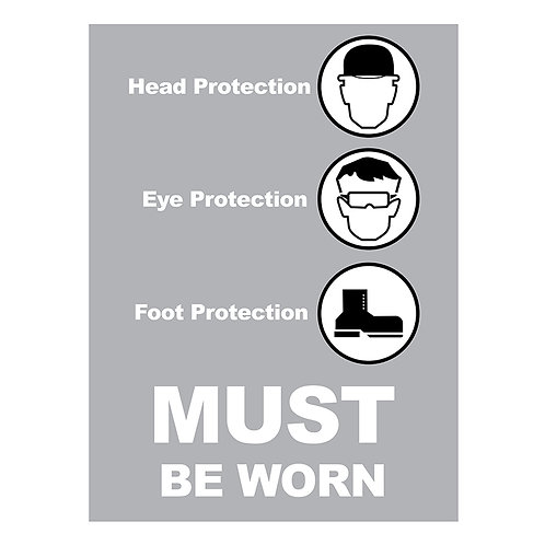 Head Protection, Eye Protection Must Be Worn Signs | Wholesale Safety Labels