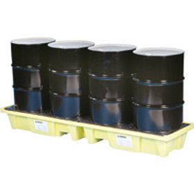 Spill Pallets - 4 Drum Poly-Slim-In-Line 3000
