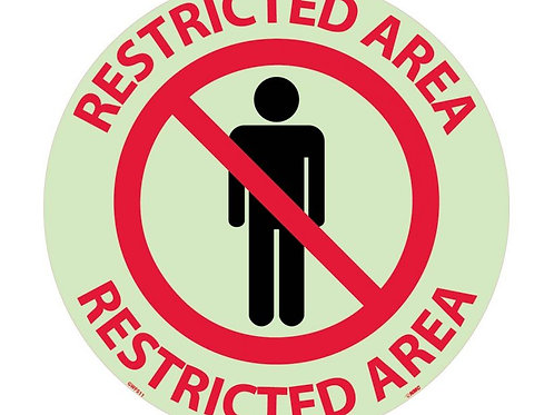"Walk on Floor Signs:  Restricted Area  17"" x 17"" Glow"
