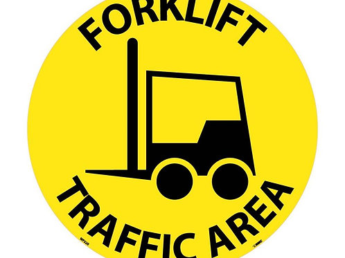 "Walk on Floor Signs: Forklift Traffic Area  17"" x 17"""