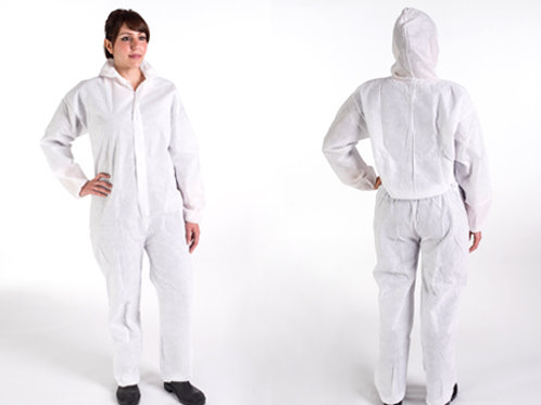 WhiteCoated SMS HoodedCoverall