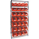 Wire Shelving Units with Storage Red Bins | Wholesale Safety Labels