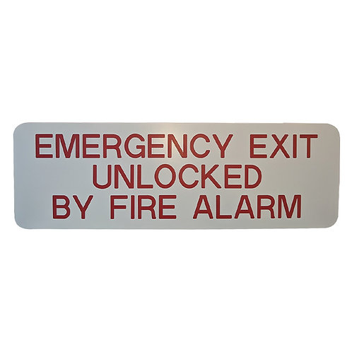 Emergency Exit Unlocked By Fire Alarm | Wholesale Safety Labels