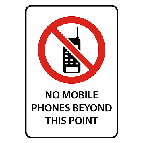 Safety Signs:  No Mobile Phones Beyond This Point | Wholesale Safety Labels
