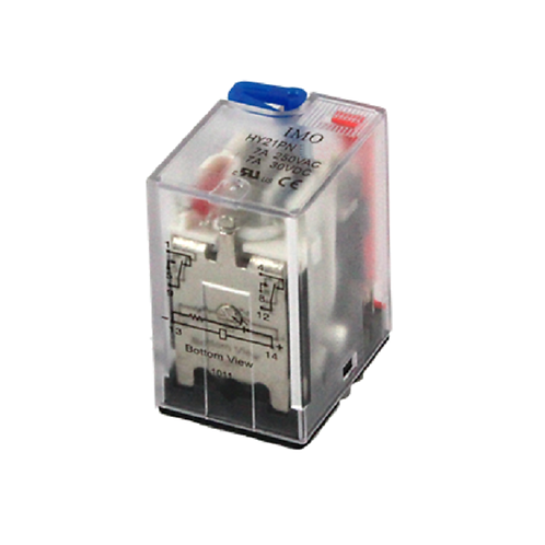 IMO Relay 2PCO, 7A, 24VDC, up to 1.1W Plug-in,LED&
