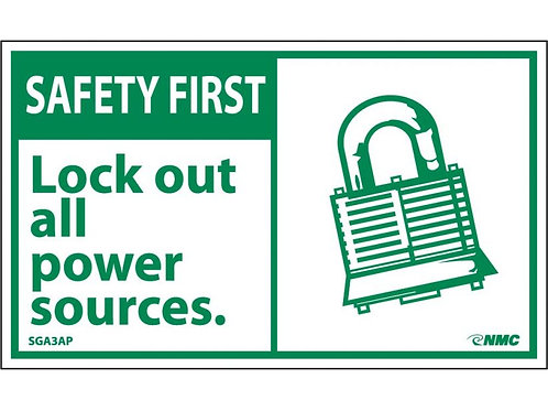 Hazard Safety First Lock Out All Power Sources