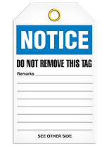 Notice Safety Tags Back Wording