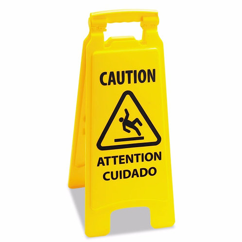 Economy Caution Safety Floor Sign 2-Sided Multi-Lingual