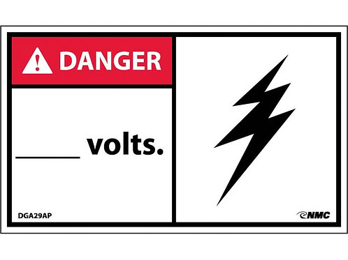 Hazard Danger Label _______ Volts (Graphic Bolt)