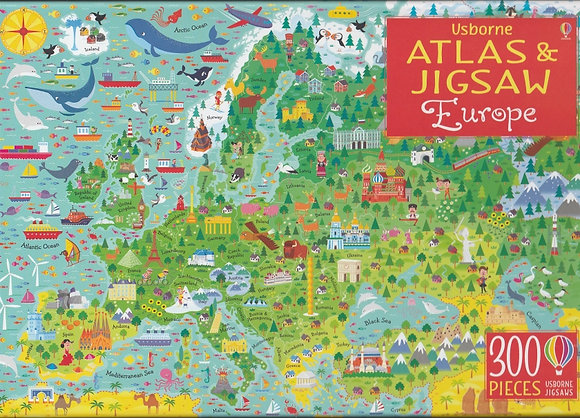 300-piece jigsaw with atlas: Europe, 9781474948067