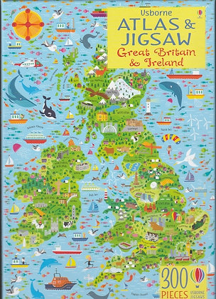 300-piece jigsaw with atlas: Great Britain & Ireland, 9781474937627