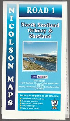 Nicolson Maps Road 1: North Scotland, Orkney & Shetland, 9781860973345