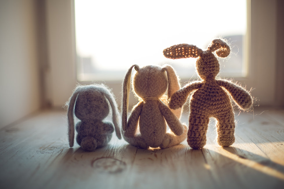 Stuffed toys animals: bunny collection.