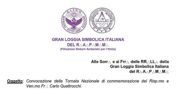 Convocazione GRAN LOGGIA SIMBOLICA ITALI