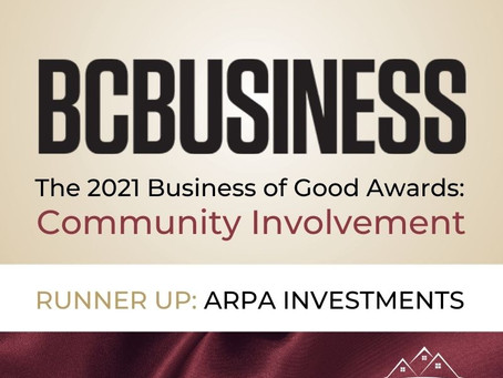 ARPA INVESTMENTS NAMED A BCBUSINESS 2021 FINALIST FOR 'BUSINESS OF GOOD' AWARDS