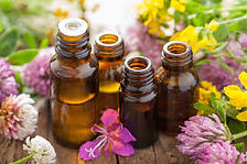 Custom aromatherapy blends for people and pets, glass bottles and wild flowers.