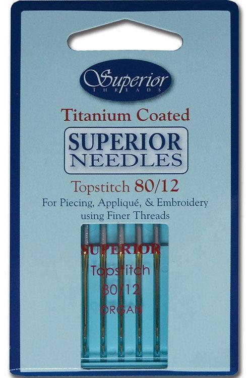 Superior #80/12 Topstitch Titanium-coated Needles