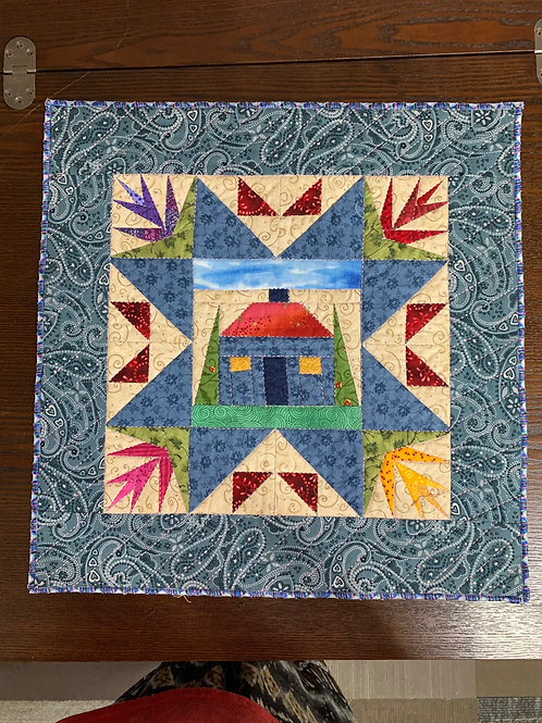 """Miniature Modified Paper Pieced HomeSweetHome 17"""" x 17"""""""