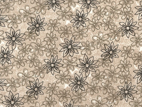 "Dark Beige Sketched Floral 108"" Wide Quilt Backing"
