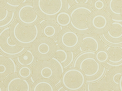 "Beige Interlocking Circles 108"" Wide Quilt Backing"