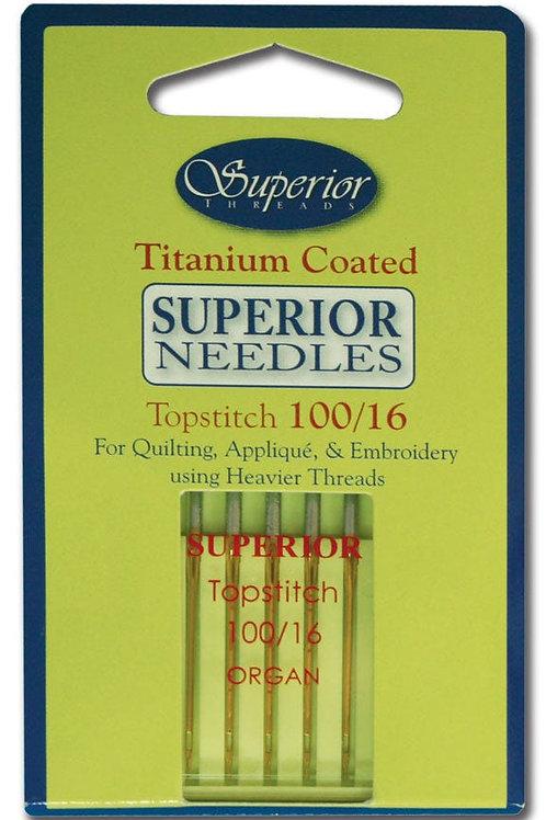 Superior #100/16 Topstitch Titanium-coated Needles
