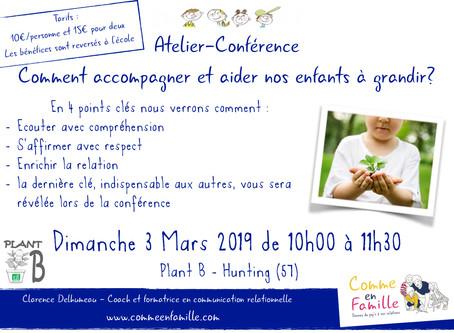 """Atelier-Conférence """"Comment accompagner et aider nos enfants à grandir?"""""""