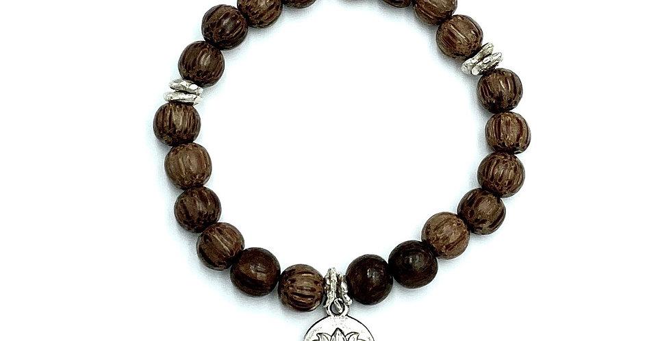 Tiger Ebony & Silver Lotus Bracelet