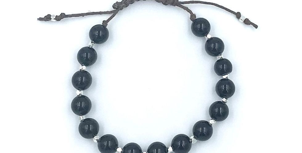 Onyx Adjustable Macrame Bracelet
