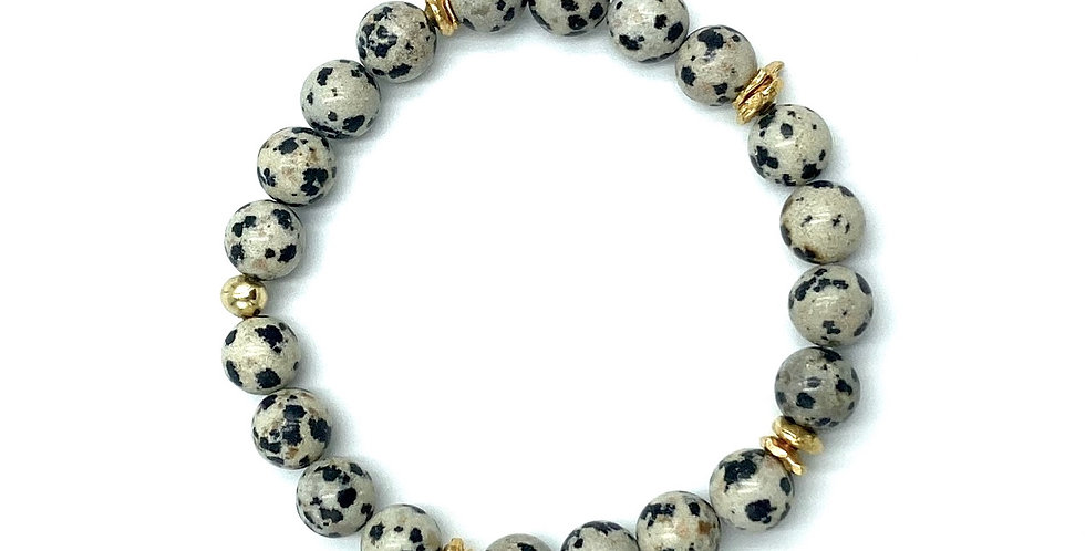 Dalmatian Jasper & Gold Mala Bracelet