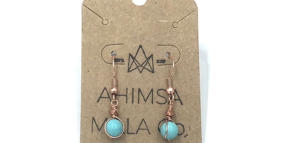 Turquoise & Copper Drop Earrings