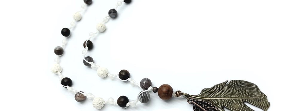 Nature Vibrations Botswana Agate & Lava Necklace