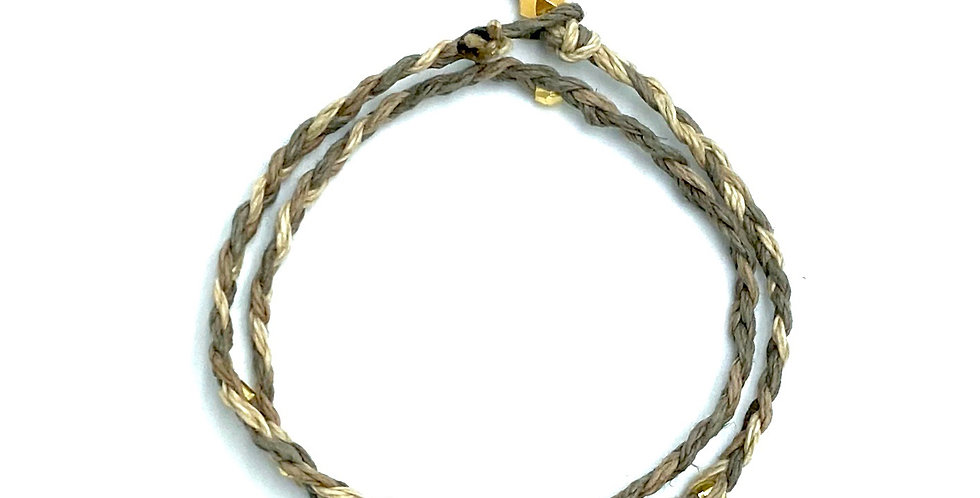 Braided Hemp & Gold Wrap Bracelet